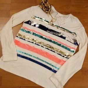 BelleJour girls XL Ivory sequins sweater